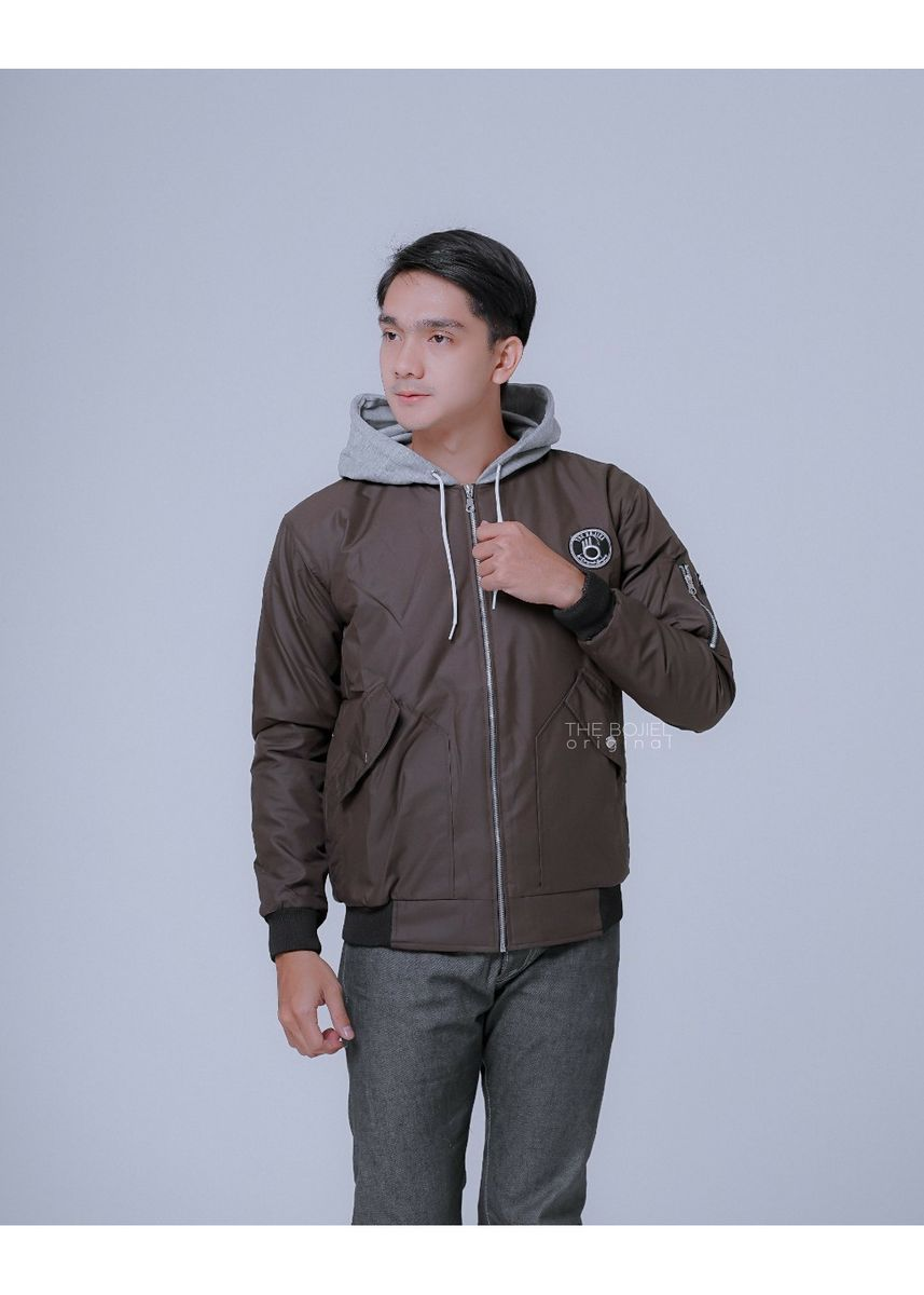 Cokelat color Jaket & Coat . JAKET BOMBER HOODIE FLEECE PRIA WINGS - JAKET PARASUT  -