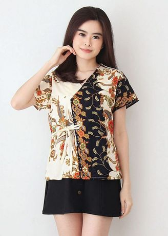 Krem color Atasan & Tunik . Side Tied Top Batik -