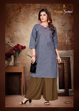Blue color Dresses . Manisha Fashion Blue Long Kurti -