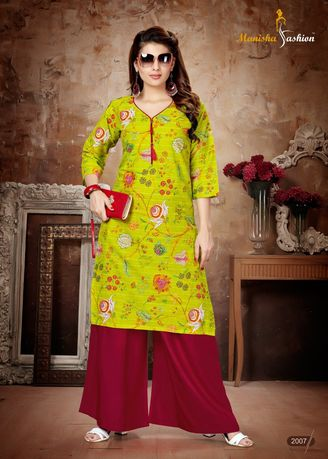 Green color Dresses . Manisha Fashion Green Long Kurti -