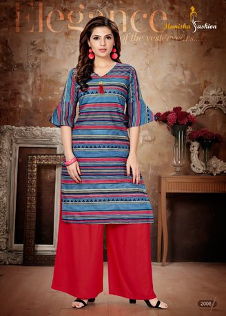 Blue color Dresses . Manisha Fashion Blue Stripes Long Kurti -