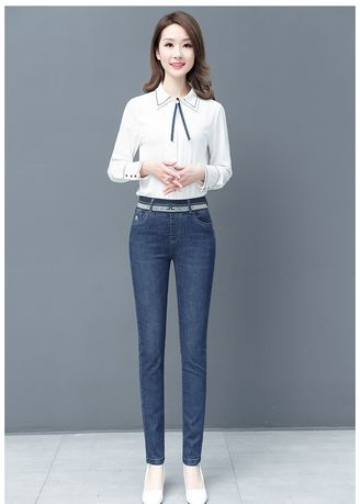 Blue color Jeans . High Waist Foot Leisure Skinny Jeans -