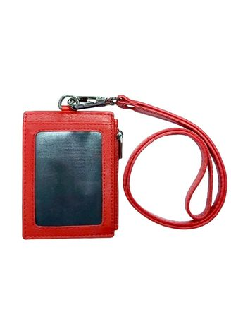 Red color Travel Wallets & Organizers . Unisex Omni Leather ID Card Holder with Lanyard  -