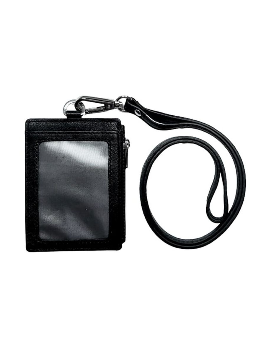 Black color Travel Wallets & Organizers . Unisex Omni Leather ID Card Holder with Lanyard  -