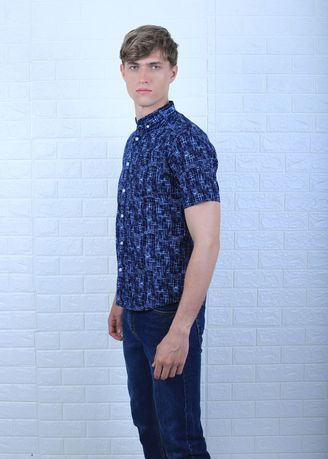 Navy color Casual Shirts . Remix Casual Blue Line Abs -