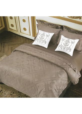 Brown color Bedroom . Osaka Set Sprei Simple Brown Jacquard Cotton Queen Size -