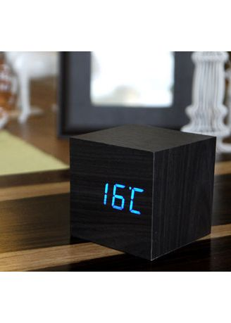 Hitam color Dekorasi . Wooden Clock Kecil Hitam LED BIRU -