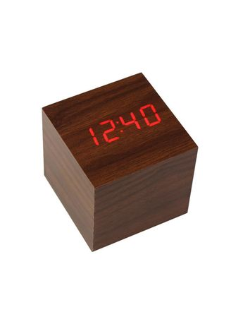Cokelat color Dekorasi . Wooden Clock Kecil LED MERAH -