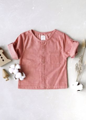 Pink color Tops . Minisize Me เสื้อเชิ้ต รุ่น Be Butterfly -