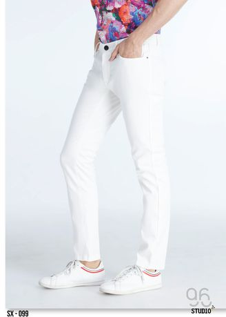 White color Casual Trousers and Chinos . 96Studio Shop กางเกง รุ่น SX-099 -ขาว -