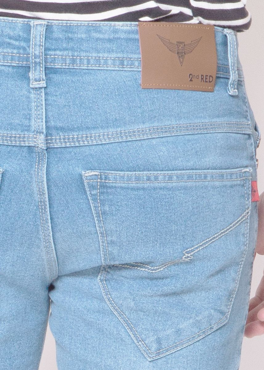 Biru color Celana Jeans . 2Nd RED Celana Jeans Slim Fit Premium Biru Muda Washed JS3233 -