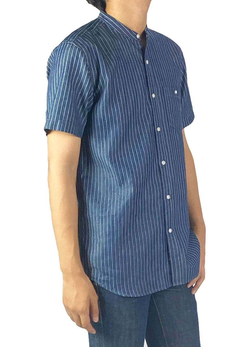 Navy color Casual Shirts . era-won เสื้อเชิ้ตแขนสั้น Denim shirt Antibacteria สี New Jan -