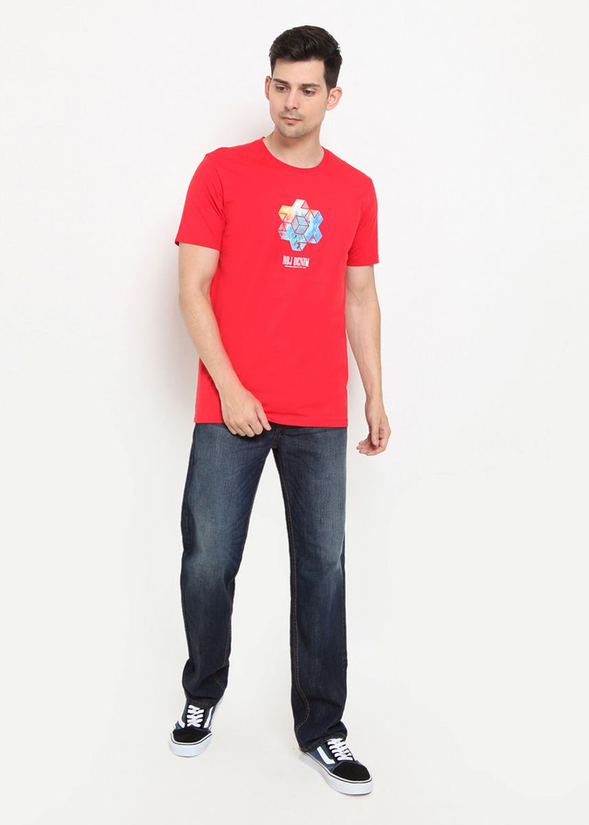 Red color T-Shirts and Polos . RBJ Kaos Cotton Combed Pria  -