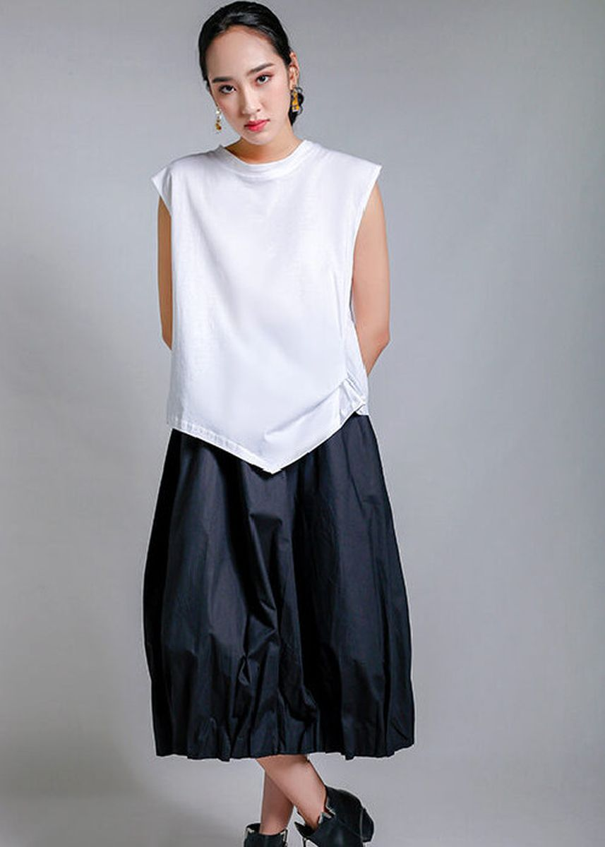 White color Tops and Tunics . Emilia Sleek Knot Top -