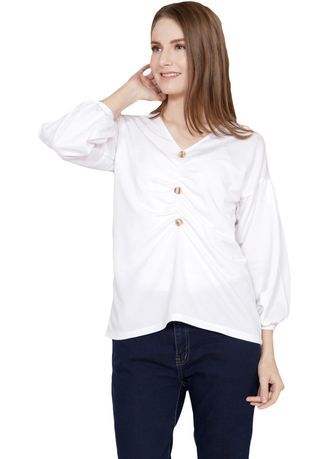 White color Tops and Tunics . Yoenik Apparel Janied Wrinkle Button Tops White  -