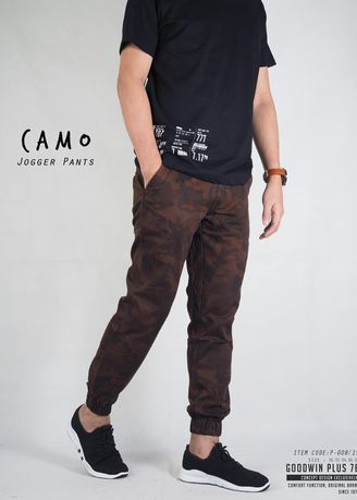 Brown color Casual Trousers and Chinos . Put On Plus กางเกง Jogger ลายทหาร รุ่น Goodwin P-008 -