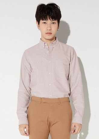 Pink color Formal Shirts . era-won เสื้อเชิ้ต Oxford shirt Antibacteria Pastel สี  Lion​ king -