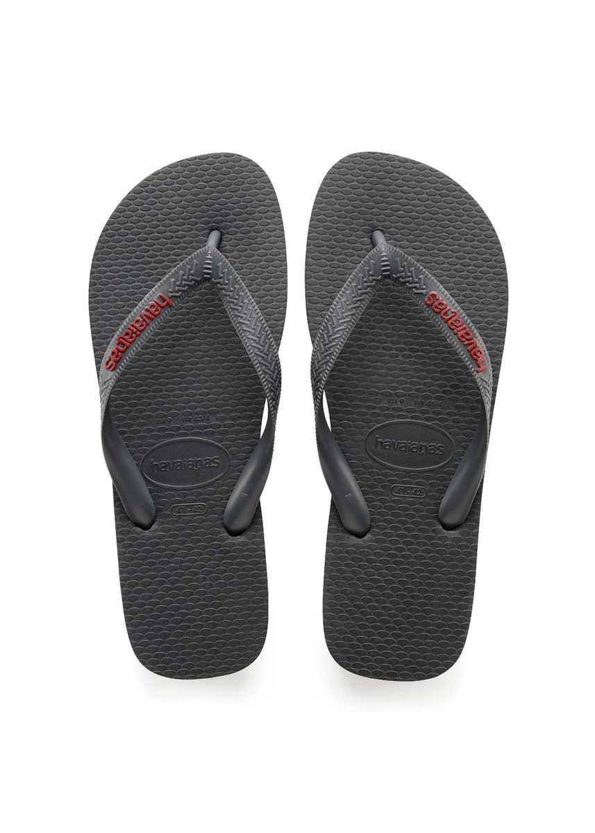 Grey color Sandals and Slippers . Havaianas Logo Filete Flip Flops - Grey Red -