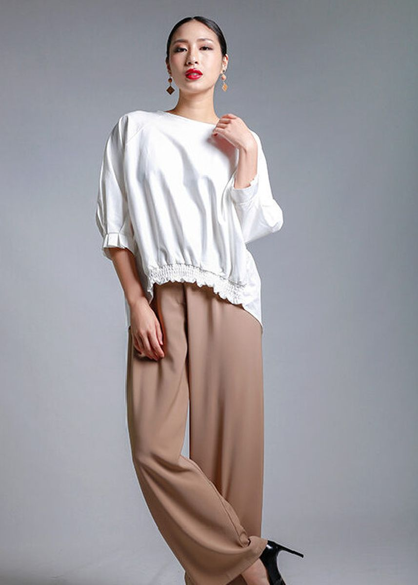 White color Tops and Tunics . Zoey Back Ribbon Top -