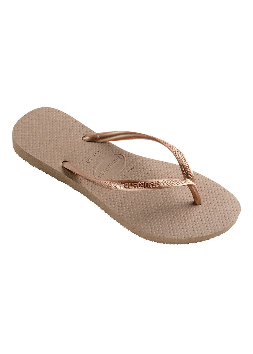 Gold color Sandals and Slippers . Havaianas Slim Flip Flops - Rose Gold -