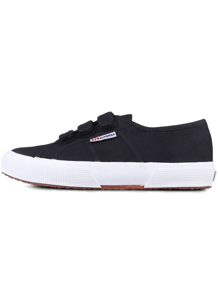 Black color Casual Shoes . Superga Strap in Black Full White -