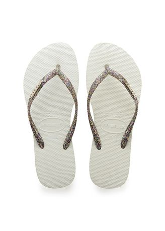 White color Sandals and Slippers . Havaianas Slim Logo Metallic Flip Flops - White Silver -
