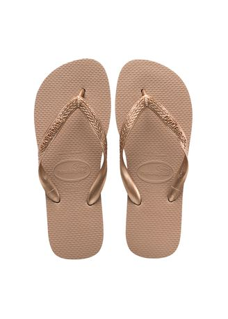 Gold color Sandals and Slippers . Havaianas Top Tiras Flip Flops - Rose Gold -