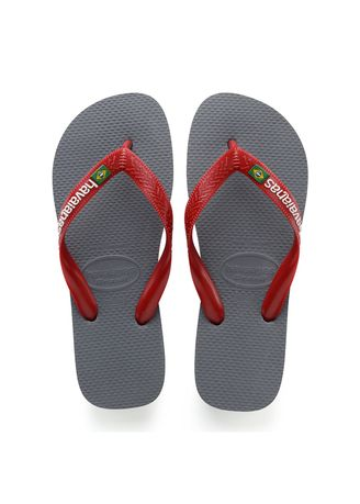 Grey color Sandals and Slippers . Havaianas Brasil Logo Flip Flops - Grey Steel Red -
