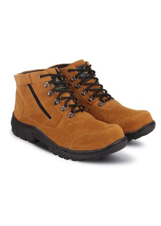 Brown color Boots . SAFETY SHOES PRIA TRACKING OUTDOOR PROYEK GUNUNG KULIT SUEDE -