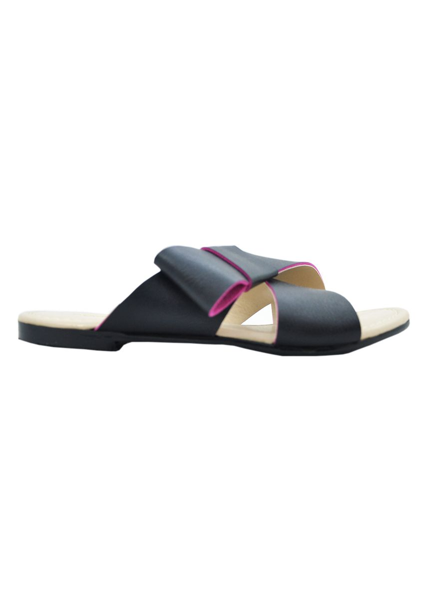 Black color Sandals and Slippers . MAYONETTE Trini Flats - Sendal Flats Wanita -