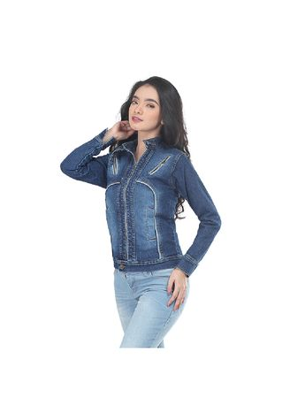 Navy color Outerwear . Inficlo Jaket Denim Wanita Zipper - Navy -