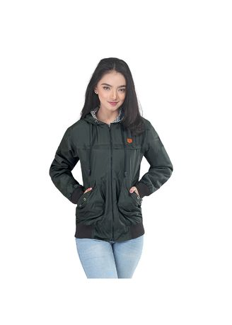 Olive color Outerwear . Inficlo Jaket Boomber Wanita Casual - Olive -