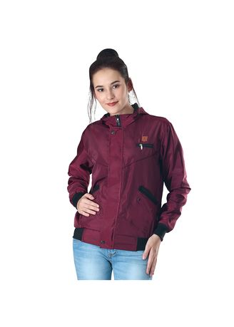 Red color Outerwear . Inficlo Hoodie Jaket Boomber Wanita - Red -