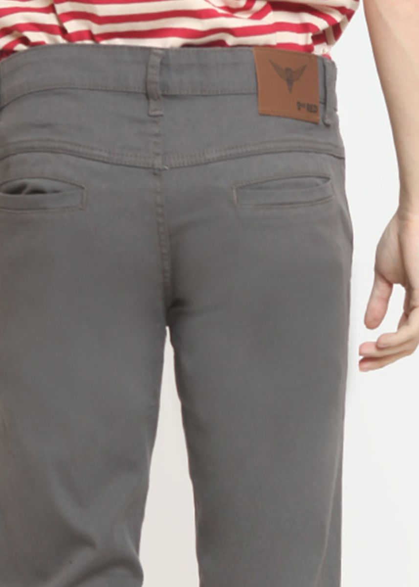 Grey color Casual Trousers and Chinos . 2Nd RED Celana Pria Slim Fit Chinos Elastis Best Quality Warna Dark Grey  -