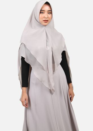 Grey color Hijab . Queensland Double Layer Khimar A03934Q Abu -