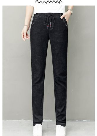 Black color Jeans . Women Points of Tall Waist Loose Fashion Jeans  -