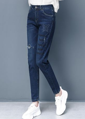 Blue color Jeans . Women Show Thin Foot Straight Jeans -