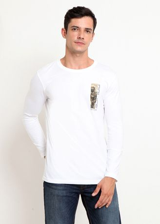 White color T-Shirts and Polos . Police Kaos Cotton Combed Pria  -