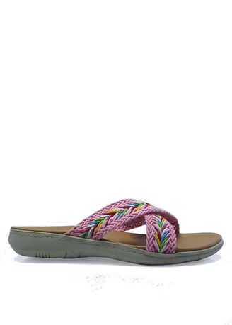 Sandals and Slippers . Embroidered Slide Sandals in Pink -
