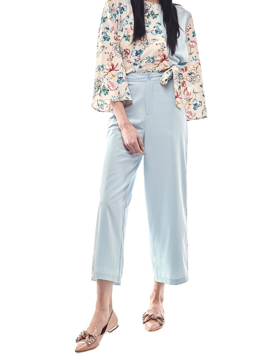 Blue color Trousers . Seroja By Aisaa - Long Pants With Side Printed -