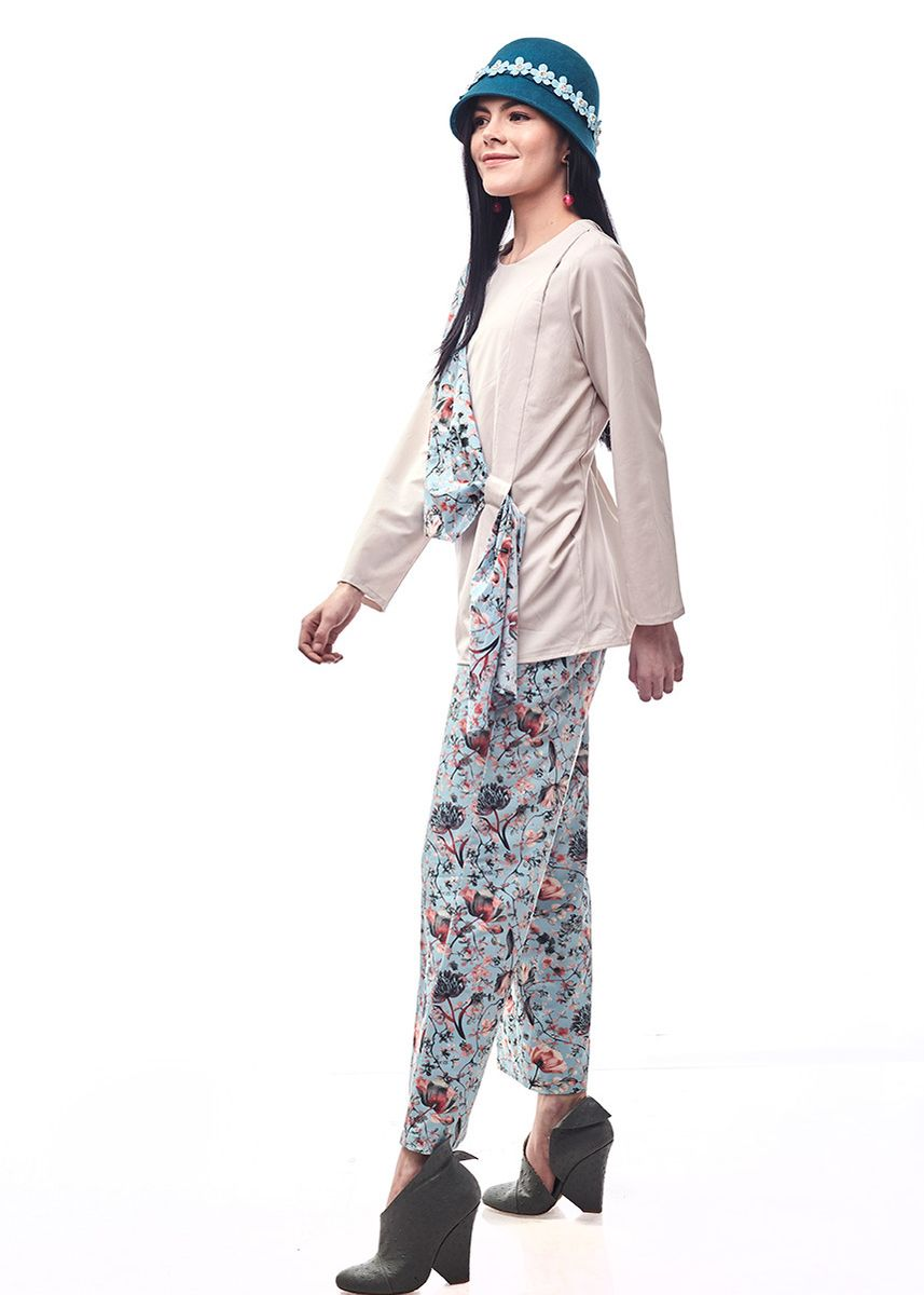 Blue color Tops and Tunics . Randa By Aisaa - Blouse Two Layer -