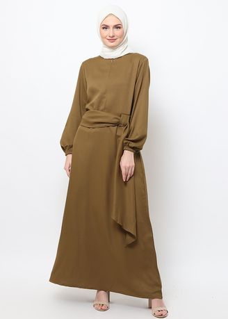 Hijau color Terusan/Dress . Hazelnut Nadine Dress - Gaun - Coklat Army -