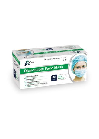 Tidak Berwarna color Masker . Masker disposable 3Ply with Earloop - 1 Box (50Pcs) -