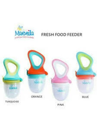 Multi color Teether & Dot . Marveila Fresh food feeder with 2 silicone sacs Empeng buah -