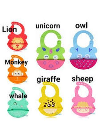 Multi color Teether & Dot . Marveila waterproof silicone bib with crumb catcher celemek bayi -