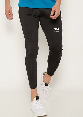 Black color Sports Wear . MB053 td active on thigh zip legging olahraga pria black -