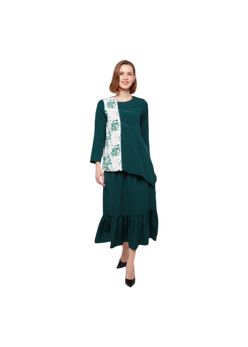 Green color Tops and Tunics . Sibela by Aisaa - Blouse Two Tone -