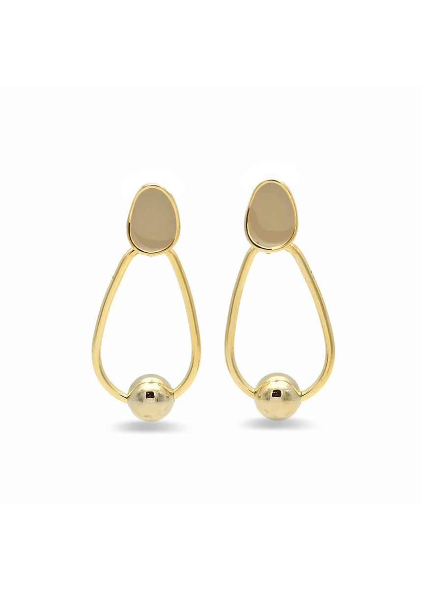 Beige color  . Style & Grace Earrings - Beige and Gold -