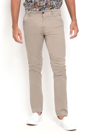 Beige color Casual Trousers and Chinos . RBJ Celana Chinos Slim fit Pria -
