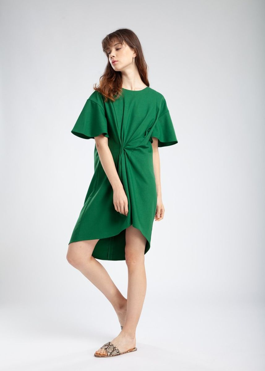 Green color Maternity Wear . Queencows ชุดให้นม : Kary Layered Dress (Green) -